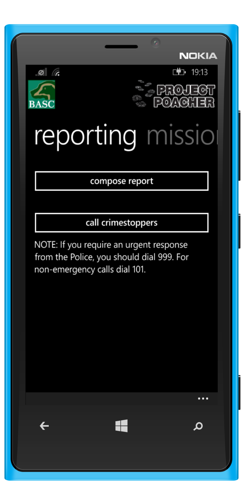 Windows Phone device with product screenshot